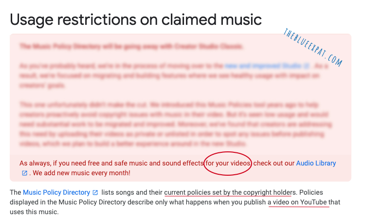 Youtube music restrictions